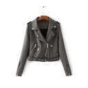 New Stylish Notched Collar Zipper Embellished Belted Waist Biker Jacket