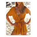 Leisure V-Neck Tie Waist Short Sleeve Split Side Ribbed Romper