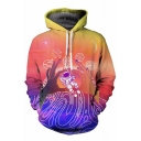 Leisure Color Block 3D Astronaut Print Long Sleeve Hoodie with Pockets