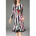 Chic Floral Pattern Striped Long Sleeve Ruffle Lace Hem Slim Midi Dress