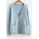 Cartoon Girl Embroidered V Neck Long Sleeve Buttons Down Cardigan with Pockets