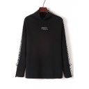 Basic Simple Letter Pattern Mock Neck Long Sleeve Leisure Sweater