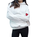 Fashion Love Heart Embroidered Long Sleeve Casual Leisure Hoodie