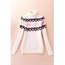 New Stylish Jacquard Detail Roll Collar Long Sleeve Pullover Sweater