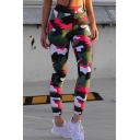 New Stylish Camouflage Print Elastic Waistband Cigarette Pants