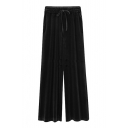 New Stylish Solid Tie Waistband Loose Fit Pants