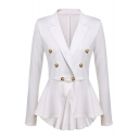 Notch Lapel Buttons Embellished Dipped Hem Long Sleeve Blazer