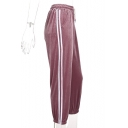 New Stylish Elastic Waist Striped Side Leisure Pants