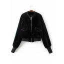 New Fashion Color Block Stand-Up Collar Zippered Long Sleeve Cropped Coat
