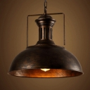 Industrial Pendant Light in Barn Style with 13''W Dome Shade, Rust