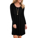 Simple Plain Round Neck Long Sleeve Smock Mini Dress