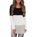 Color Block Striped Pattern Round Neck Long Sleeve T-Shirt Mini Dress