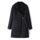 New Stylish Notched Collar Simple Plain Zipper Tunic Padded Coat
