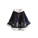 Fashion Deer Tree Print Tassel Embellished Color Block Hooded Poncho