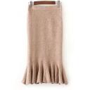 Elastic Waist Fashion Fishtail Hem Simple Plain Midi Knit Skirt
