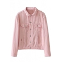 New Stylish Ripped Out Simple Plain Long Sleeve Lapel Collar Buttons Down Denim Jacket