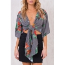 Floral Pattern Striped Deep V-Neck Knot Front Cropped Blouse