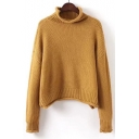 Mock Neck Long Sleeve Simple Plain Casual Basic Pullover Sweater