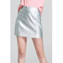 New Trendy Plain Metallic Silver Leather Mini Skirt