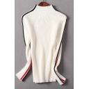 Simple Mock Neck Long Sleeve Striped Pattern Hem Pullover Sweater