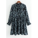 Chic Bow Tied Collar Long Sleeve Floral Pattern Mini Smock Dress