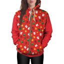 Christmas Series Father Christmas Pattern Long Sleeve Hoodie