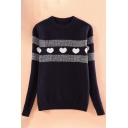 Fashion Heart Print Stripe Detail Round Neck Long Sleeve Pullover Sweater