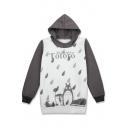 Cartoon Totoro Print Long Sleeve Leisure Pullover Hoodie