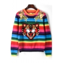 New Stylish Animal Print Color Block Embroidered Detail Round Neck Long Sleeve Pullover Sweater