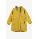 New Fashion Simple Plain Hooded Zippered Long Sleeve Coat