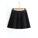 Fashion Simple Plain High Waist Pleated Mini Skirt