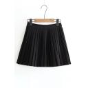 Fashion Simple Plain High Waist Pleated Mini Skirt