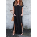 Simple Plain V-Neck Split Side Short Sleeve Maxi Dress