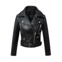 Chic Notched Collar Zipper Embellished Belted Waist Biker Jacket
