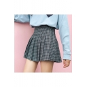 New Trendy Check Pattern High Waist Pleated Short Skirt