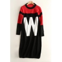 Color Block Round Neck Long Sleeve Letter W Pattern Tunic Sweater