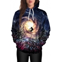 New Arrival Starry Night 3D Print Long Sleeve Loose Hoodie