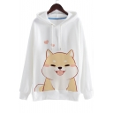 Hot Fashion Cute Dog Print Drawstring Hood Long Sleeve Hoodie