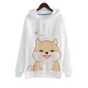 Hot Fashion Cute Dog Print Drawstring Hood Long Sleeve Hoodie