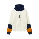 Fashion Embroidered Detail Color Block Drawstring Hood Long Sleeve Hoodie