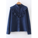 Stand-Up Collar Ruffle Hem Buttons Down Long Sleeve Denim Shirt