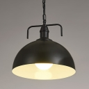 Industrial Pendant Light with 15.75''W Dome Metal Shade in Black/White