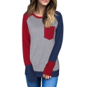Simple Color Block Panel Round Neck Long Sleeve Top