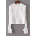 New Stylish Round Neck Flared Cuff Simple Plain Pullover Sweater