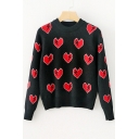Chic Lightning Love Pattern Long Sleeve Round Neck Pullover Sweater