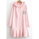 Lovely Rabbit Embroidered Ruffle Hem Long Sleeve Short Dress with Hood
