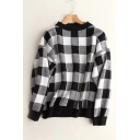 Long Sleeve Round Neck Classic Plaids Pattern Pullover Casual Sweater