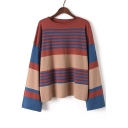 Fashion Round Neck Long Sleeve Striped Pattern Pullover Sweater