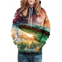 Stylish Galaxy Space Airship Pattern Long Sleeve Casual Sports Hoodie