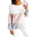 New Stylish Color Block Tie Back Round Neck Long Sleeve Boxy Pullover Sweatshirt